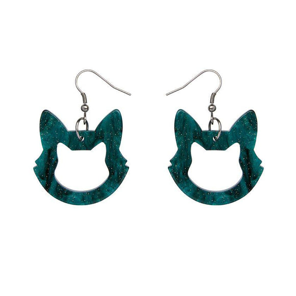 Cat Head Ripple Glitter Drop Earrings - Green - Rockamilly-Jewellery-Vintage