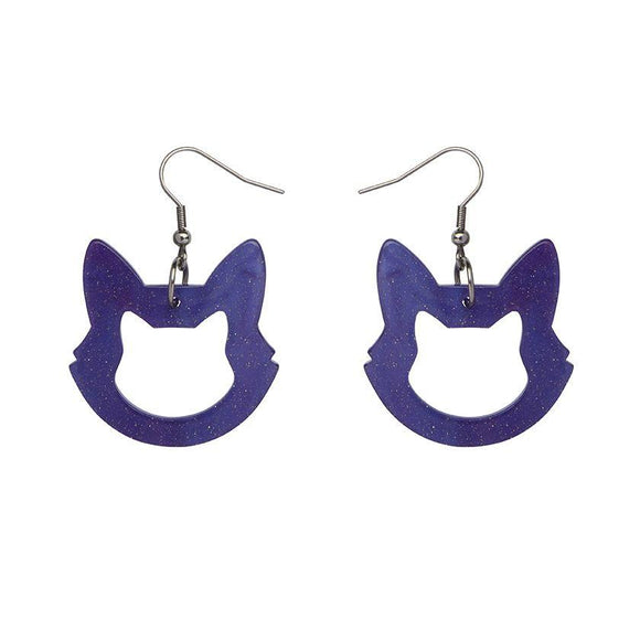 Cat Head Ripple Glitter Drop Earrings - Purple - Rockamilly-Jewellery-Vintage