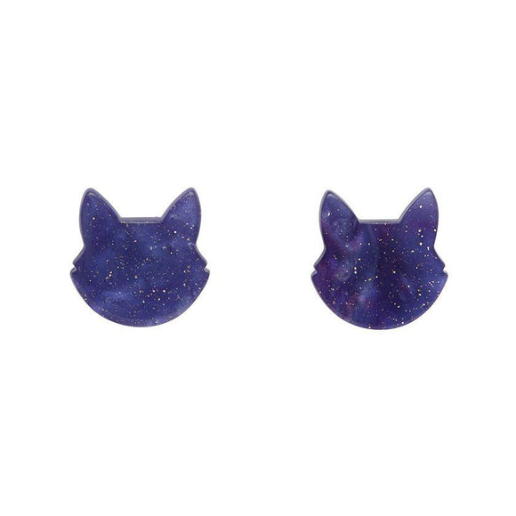 Cat Head Ripple Glitter Stud Earrings - Purple - Rockamilly-Jewellery-Vintage