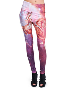 Cat On Horse Alternative Galaxy Leggings - Rockamilly-bottoms-Vintage