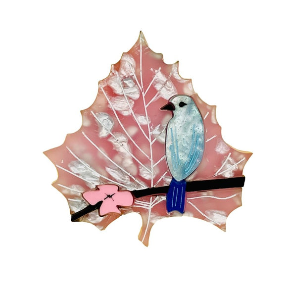 Cherry Blossom Blue Bird Leaf Brooch - Rockamilly-Jewellery-Vintage