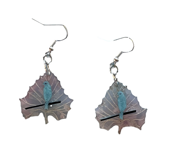 Cherry Blossom Blue Bird Leaf Earrings - Rockamilly-Jewellery-Vintage