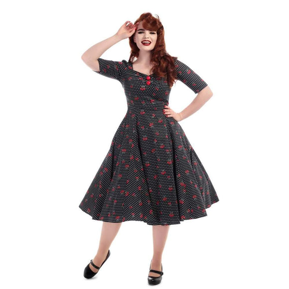 Cherry Polka Dolores Half Sleeve Collectif - Rockamilly-Dresses-Vintage