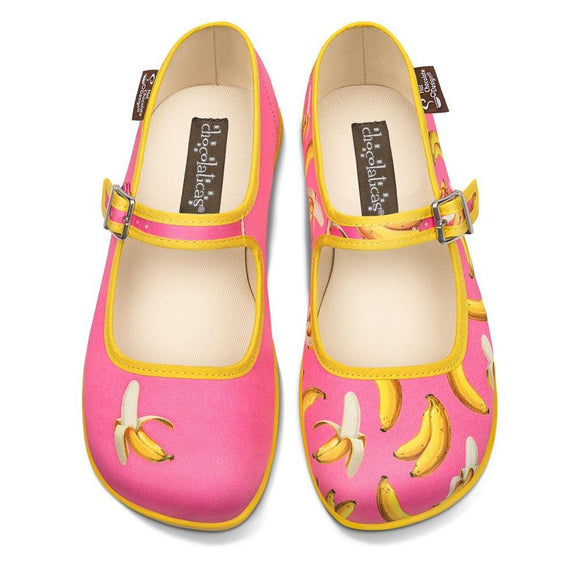 Chocolaticas® Banana Women's Mary Jane Flat Shoes - Rockamilly-Shoes-Vintage