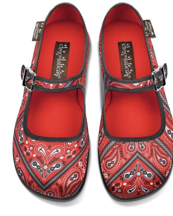 Chocolaticas® Bandana Women's Mary Jane Flat Shoes - Rockamilly-Shoes-Vintage