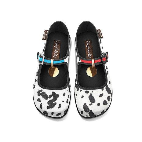 Chocolaticas® Dalmatians Women's Mary Jane Flat Shoes - Rockamilly-Shoes-Vintage