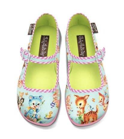 Chocolaticas® Kitschy Friends Women's Mary Jane Flat Shoes - Rockamilly-Shoes-Vintage