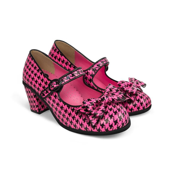 Chocolaticas® Mid Heels Pop Hounds Tooth Pink Women's Mary Jane Pump - Rockamilly-Shoes-Vintage