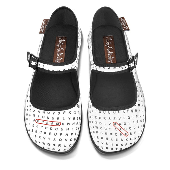 Chocolaticas® Word Search Mary Jane Flat Shoes - Rockamilly-Shoes-Vintage