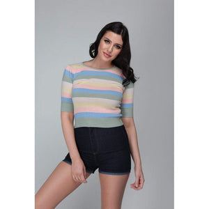 Chrissie Teacup Stripe Knitted Top - Rockamilly-Knitwear-Vintage