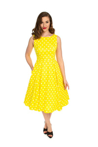 Cindy Polka Yellow Dot Swing Dress H&R London - Rockamilly-Dresses-Vintage