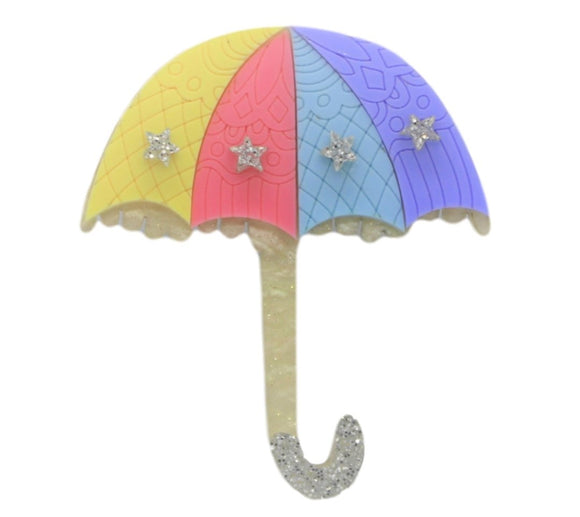 Colourful Umbrella Brooch - Rockamilly-Jewellery-Vintage