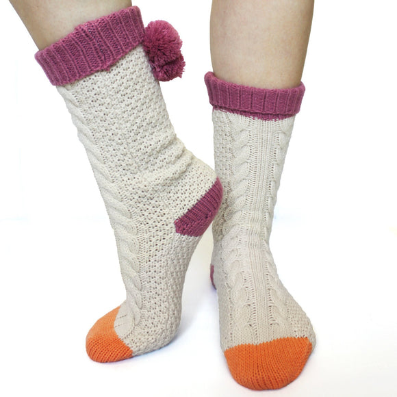 Cream Knitted Loop Socks - Rockamilly-Accessories-Vintage