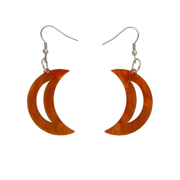 Crescent Moon Gold Ripple Resin Drop Earrings Erstwilder - Rockamilly-Jewellery-Vintage