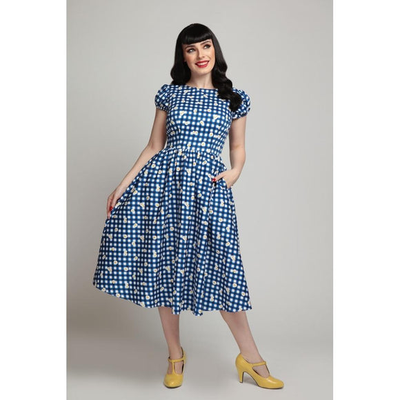 Demira Gingham Daisy Swing Dress - Rockamilly-Dresses-Vintage