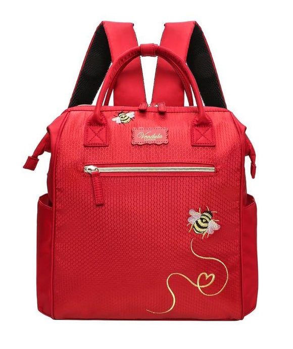 Easy Going Bumblebee Backpack in Red - Rockamilly-Bags & Purses-Vintage