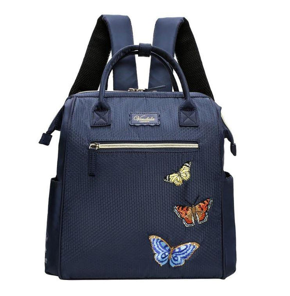 Easy Going Butterfly Backpack in Navy - Rockamilly-Bags & Purses-Vintage