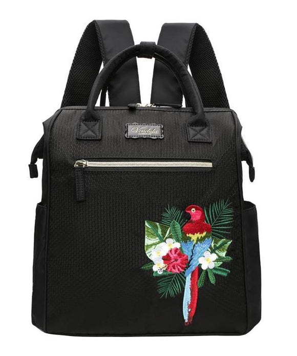 Easy Going Parrot Backpack in Black - Rockamilly-Bags & Purses-Vintage