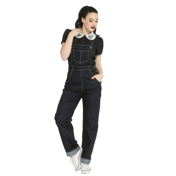 Elly May Dungarees Black - Rockamilly-Trousers & Jeans-Vintage