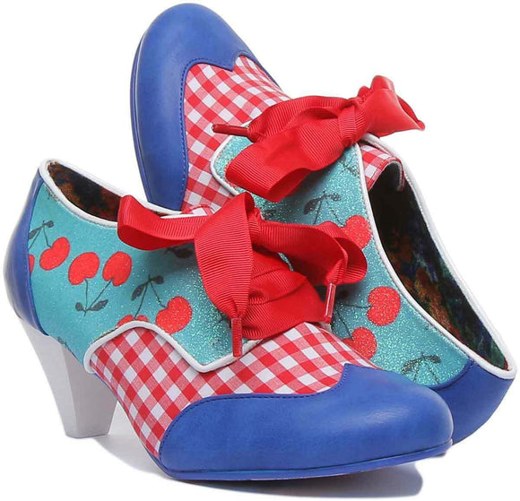 End of Story Blue Red Check Mid Heel - Rockamilly-Shoes-Vintage