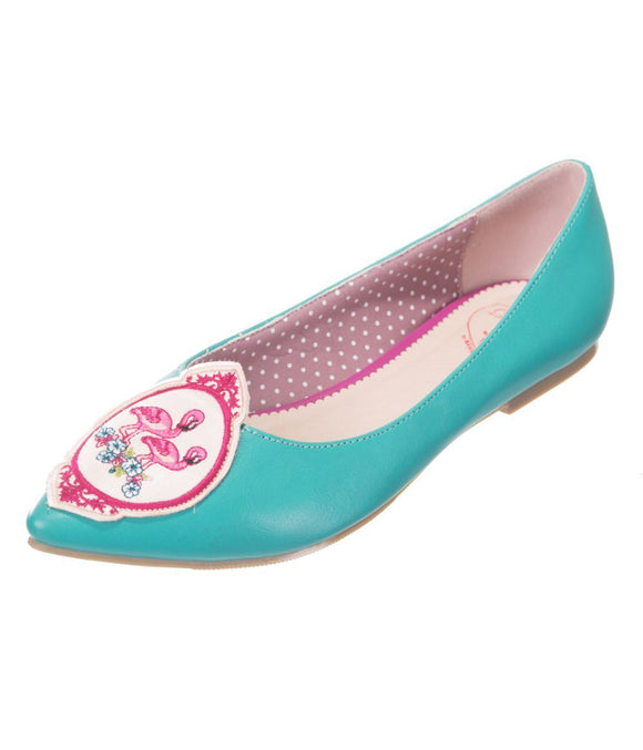 Flamingo Teal Flat Shoes - Rockamilly-Shoes-Vintage