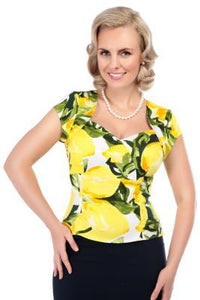 Fruity Lemon Fitted Top - Rockamilly-Tops-Vintage