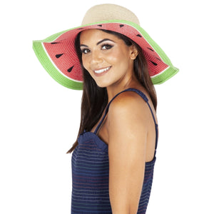 Fruity Straw Sun Hat Watermelon, Lemon, Kiwi - Rockamilly-Accessories-Vintage