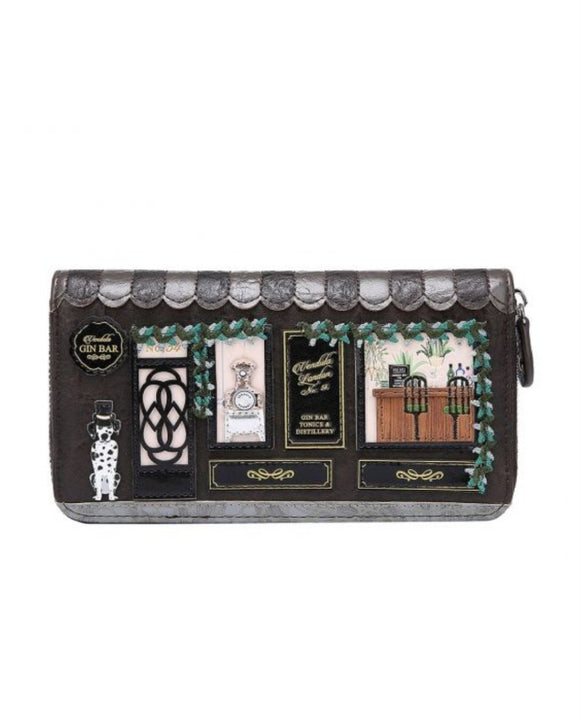 Gin Bar Large Ziparound Wallet - Rockamilly-Bags & Purses-Vintage