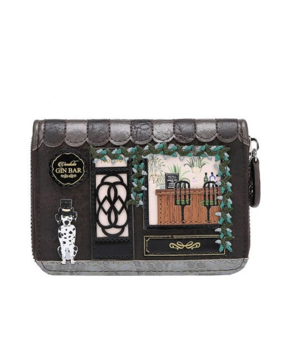 Gin Bar Small Zip Around Wallet - Rockamilly-Bags & Purses-Vintage
