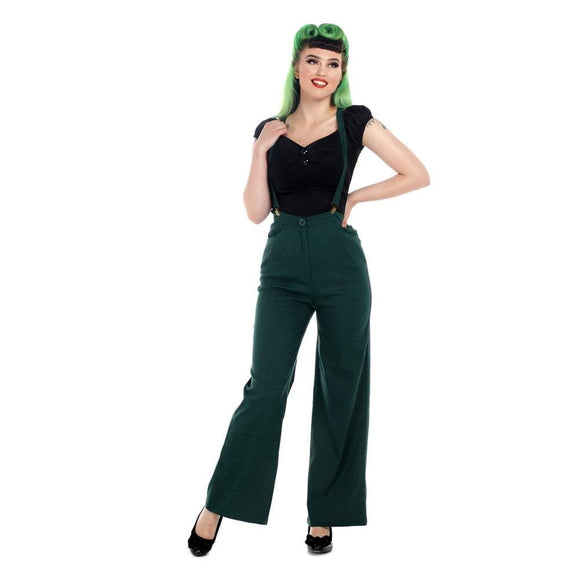 Glinda Suspender Trousers Green - Rockamilly-bottoms-Vintage
