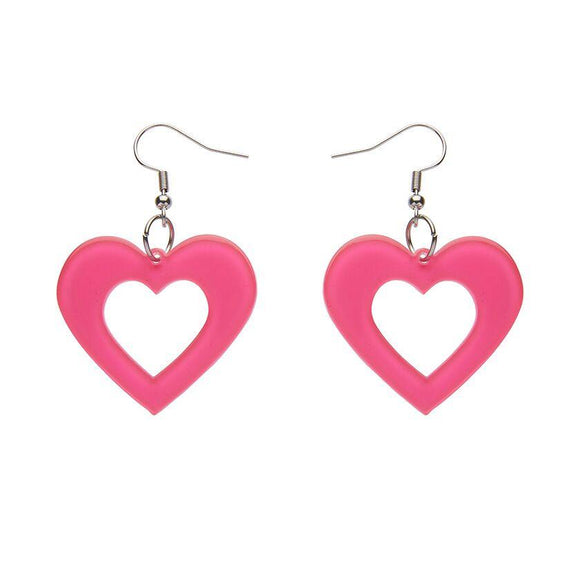 Heart Bubble Resin Drop Earrings - Pink Erstwilder - Rockamilly-Jewellery-Vintage