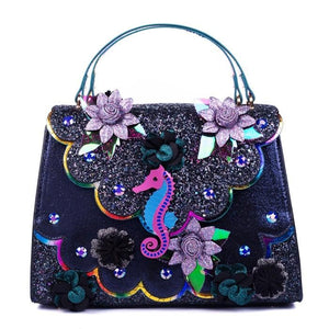 Hippokampos Bag Blue/Black Irregular Choice - Rockamilly-Bags & Purses-Vintage