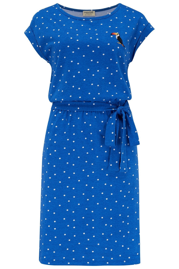 Kate Jersey Dress - Blue, Toucan Polka - Rockamilly-Dresses-Vintage