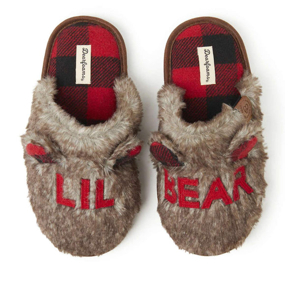 Kids Furry Lil Bear Scuff Slipper - Rockamilly-Accessories-Vintage