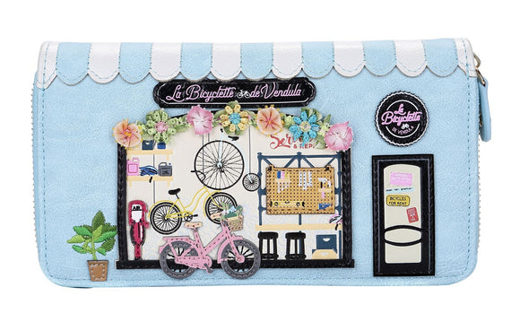 La Bicyclette De Vendula Large Zip Around Wallet - Rockamilly-Bags & Purses-Vintage