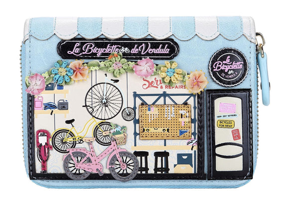 La Bicyclette De Vendula Small Zip Around Wallet - Rockamilly-Bags & Purses-Vintage