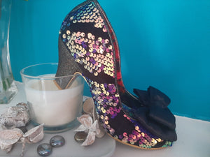 Lady Ban Joe Black Sequin Irregular Choice - Rockamilly-Shoes-Vintage