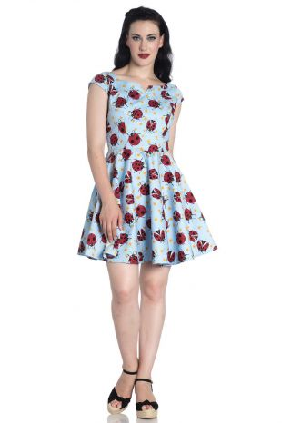 Lila ladybug Mini Dress - Rockamilly-Dresses-Vintage