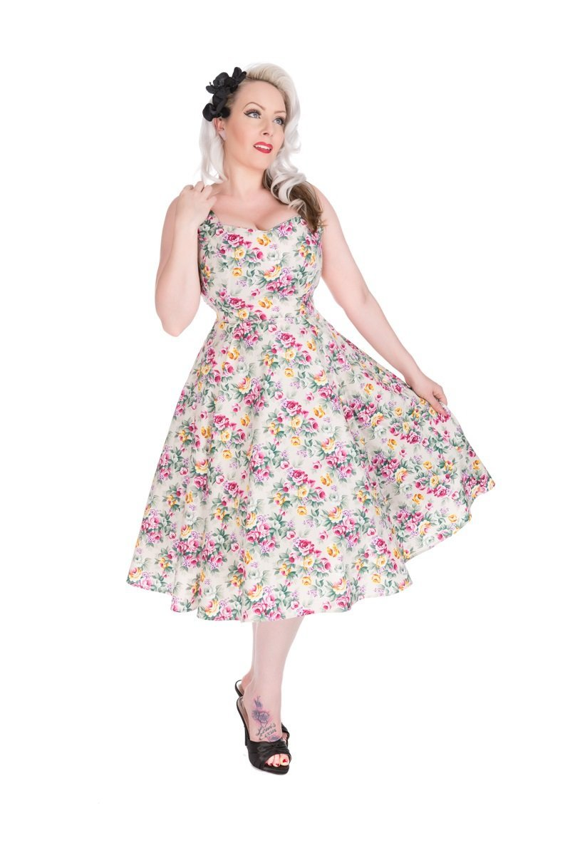 Lilac Posy Floral Swing Dress - Rockamilly-Dresses-Vintage