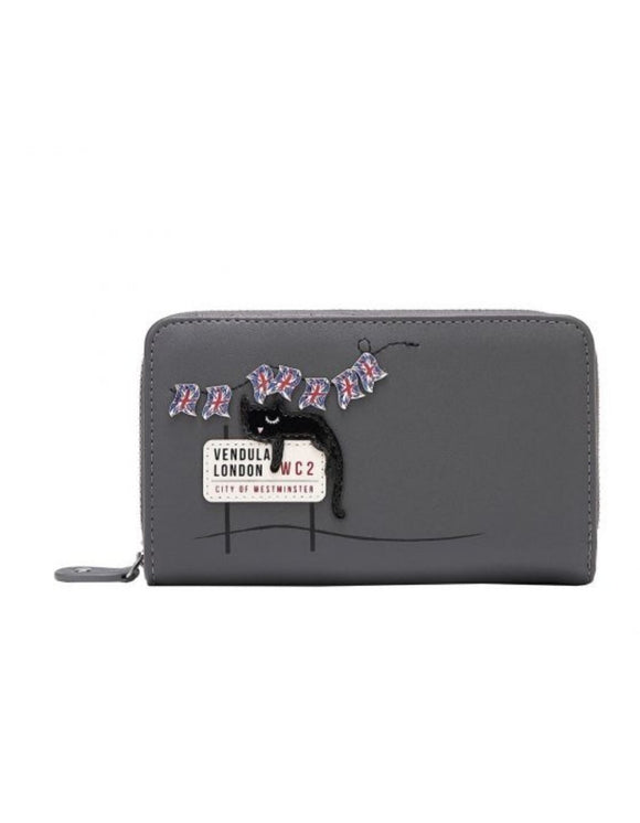 London Cats Medium Ziparound Wallet - Grey - Rockamilly-Bags & Purses-Vintage