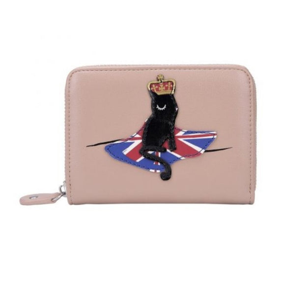 London Cats Small Zip Around Wallet - Beige - Rockamilly-Bags & Purses-Vintage
