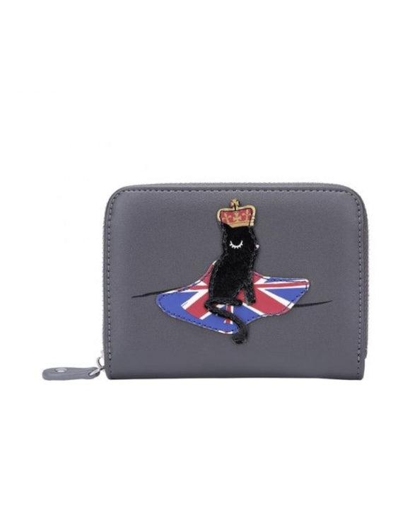 London Cats Small Zip Around Wallet - Grey - Rockamilly-Bags & Purses-Vintage
