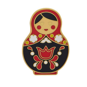 Matryoshka Memories Large Blk/Red Enamel Pin Erstwilder - Rockamilly-Accessories-Vintage