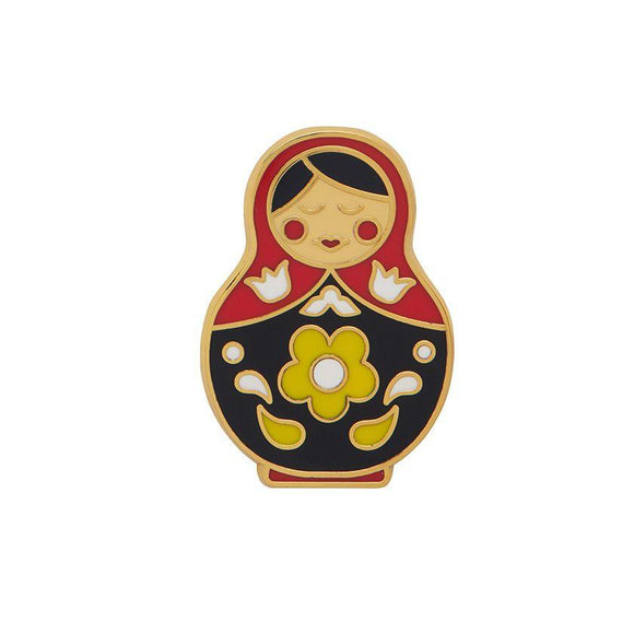 Matryoshka Memories Medium Blk/Red Enamel Pin Erstwilder - Rockamilly-Accessories-Vintage