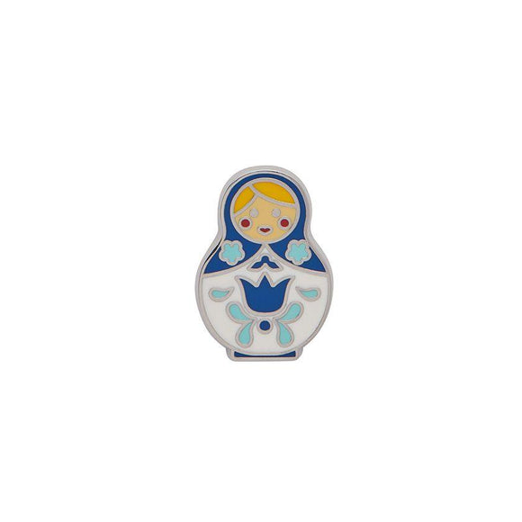 Matryoshka Memories Small Blue/Wht Enamel Pin Erstwilder - Rockamilly-Accessories-Vintage