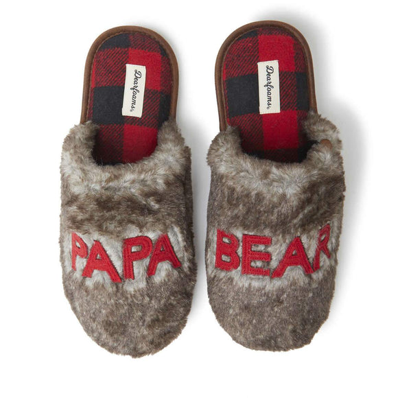Men's Furry Papa Bear Scuff Slipper - Rockamilly-Accessories-Vintage