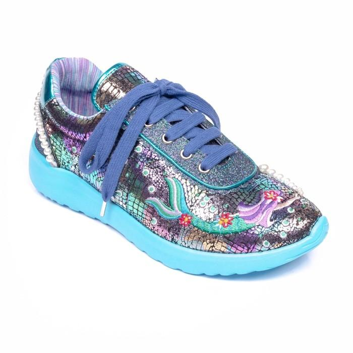 Mermazing Blue Irregular Choice Trainers - Rockamilly-Shoes-Vintage