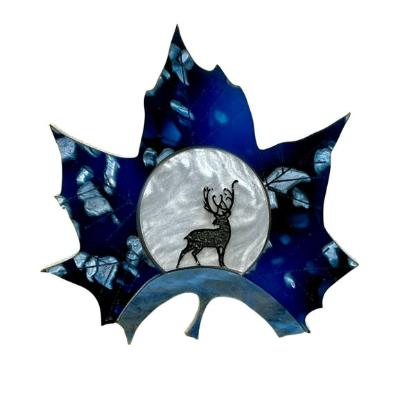 Midnight Deer Leaf Brooch - Rockamilly-Jewellery-Vintage