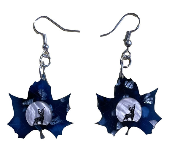 Midnight Deer Leaf Earrings - Rockamilly-Jewellery-Vintage