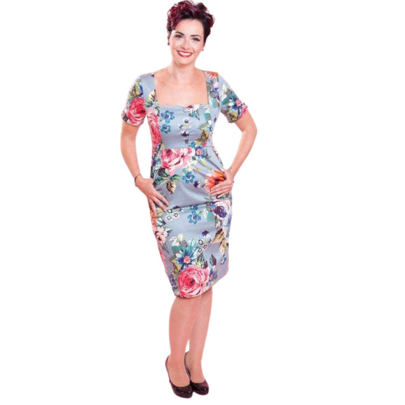 Ms Floral Wiggle Blue - Rockamilly-Dresses-Vintage